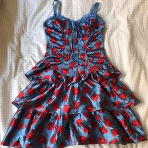 Betsey Johnson Blue and Red Ruffle Silk Dress